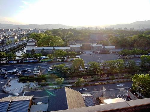 京都全日空ホテル ビアガーデンから二条城を臨む